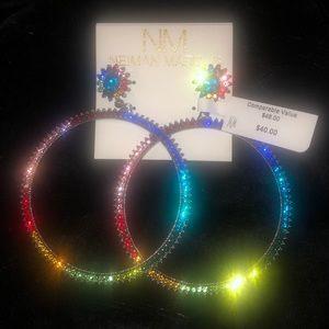 Nieman Marcus rainbow colored  hoop earrings